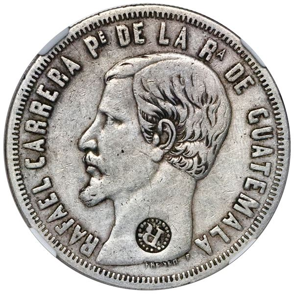 El Salvador, 8 reales, R-in-beaded-circle countermark (Type IV, 1862) on a Guatemala 8 reales 1859 R