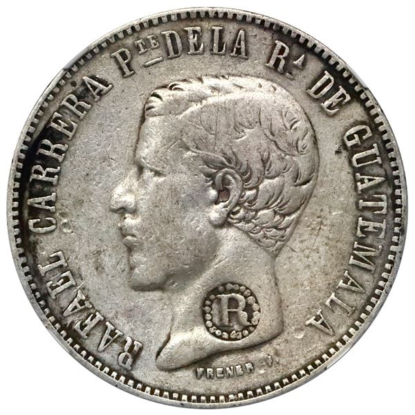 El Salvador, 4 reales, R-in-beaded-circle countermark (Type IV, 1862) on a Guatemala 4 reales 1861 R