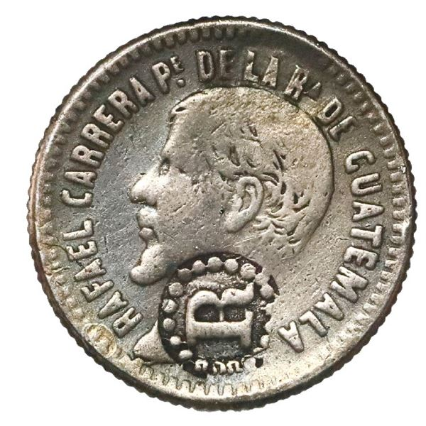 El Salvador, 1/2 real, R-in-beaded-circle countermark (Type IV, 1862) on a Guatemala 1/2 real 1861 R