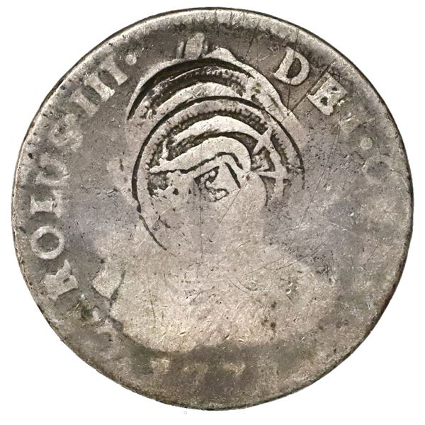 El Salvador, 2 reales, arms countermark (Type V, 1868) twice on a Potosi, Bolivia, bust 2 reales, Ch