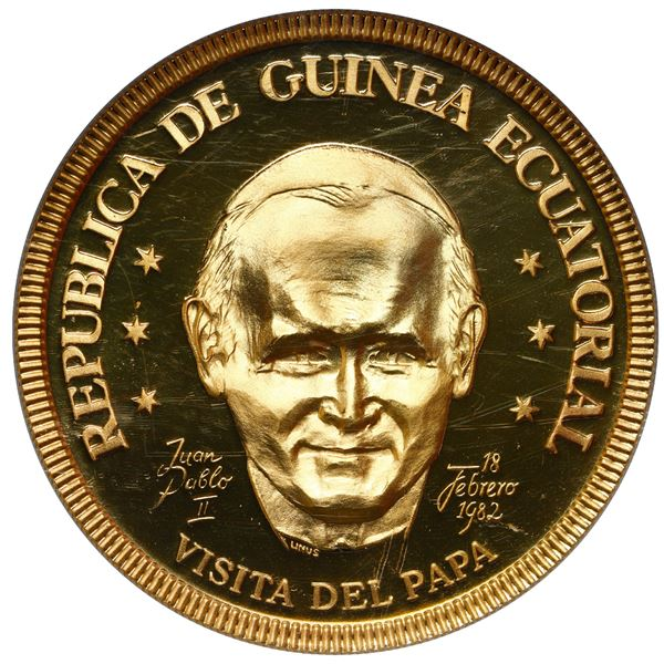 "Equatorial Guinea, gold proof 1 ekuele, 1982, visit by Pope John Paul II, NGC PF 69 Ultra Cameo (""to"