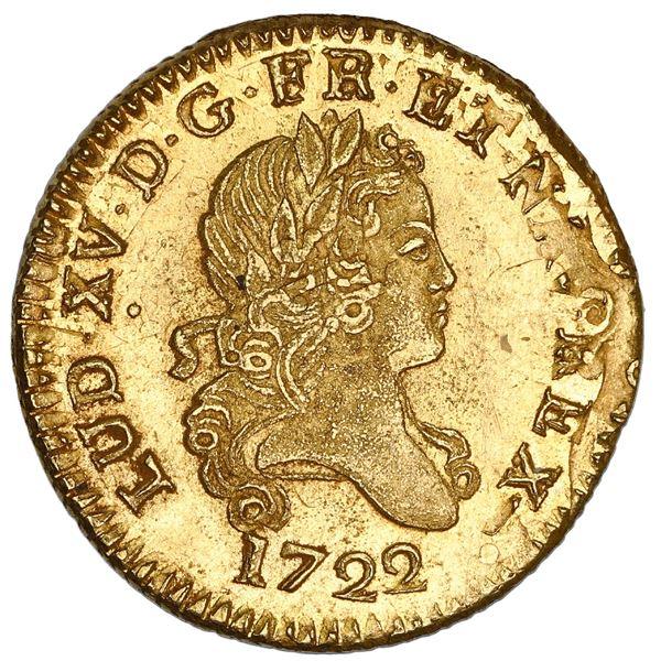 France (Lille mint), gold louis d'or aux deux L, Louis XV, 1722-W, rare, struck over a double louis