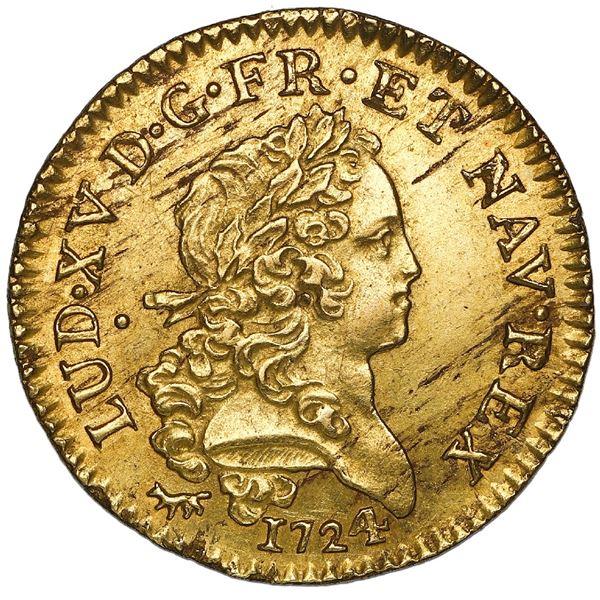 France (Paris mint), gold louis d'or Mirliton, Louis XV, 1724-A, NGC MS 61.