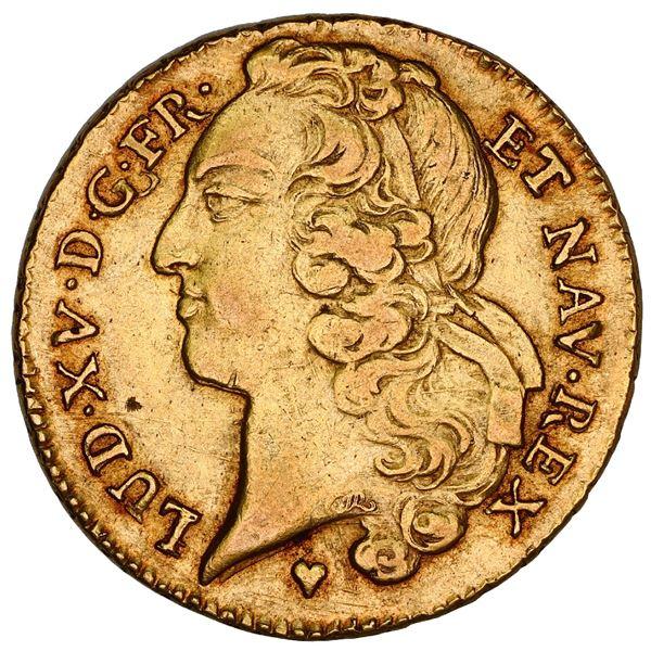 France (Strasbourg mint), gold double louis d'or au bandeau, Louis XV, 1759-BB, NGC AU details / obv