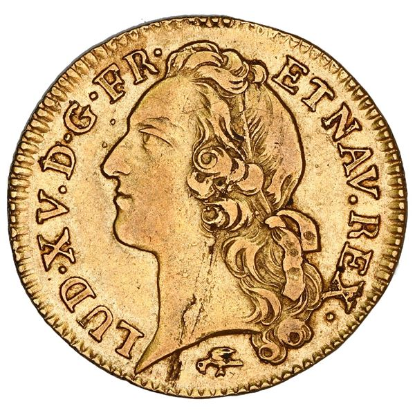 France (Lyon mint), gold louis d'or au bandeau, Louis XV, 1755-D, NGC AU 55, finest and only example