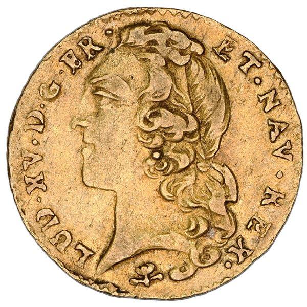 France (Reims mint), gold 1/2 louis d'or au bandeau, Louis XV, 1746-S, NGC XF 45.