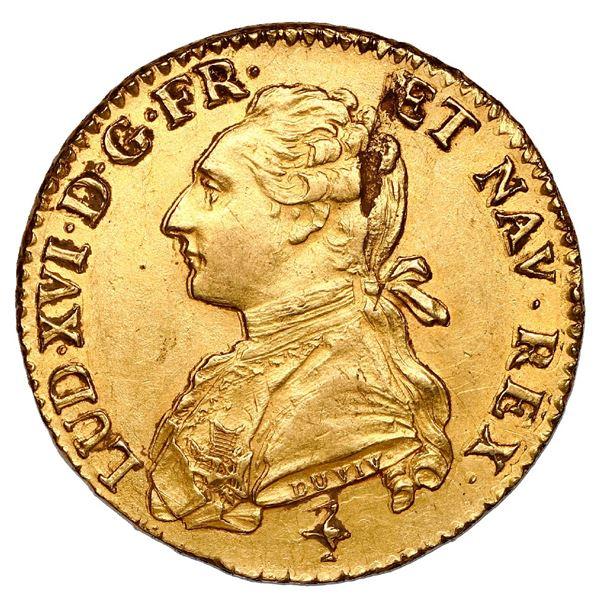France (Paris mint), gold louis d'or aux lunettes, Louis XVI, 1778-A, NGC UNC details / cleaned.