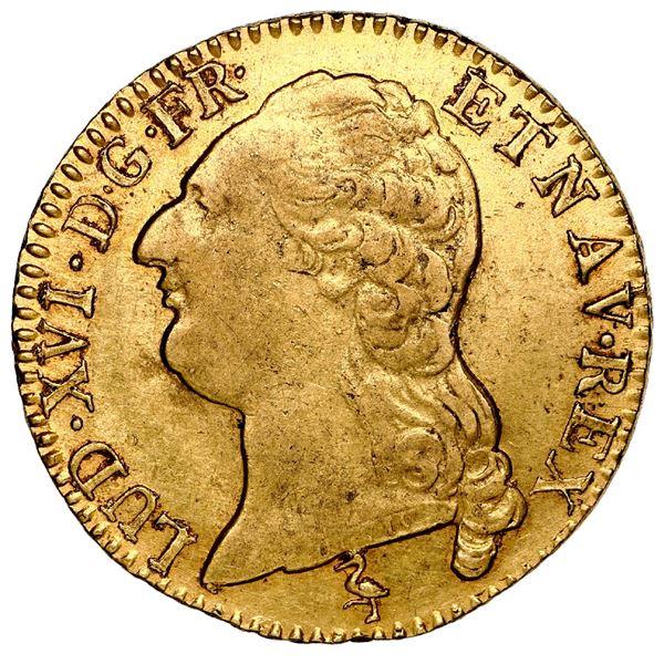 France (Paris mint), gold louis d'or a la tete nue, Louis XVI, 1787-A, NGC AU 53.