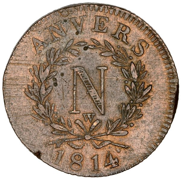 France (Antwerp mint), copper 10 centimes, Napoleon I, 1814-W, NGC MS 62 BN.