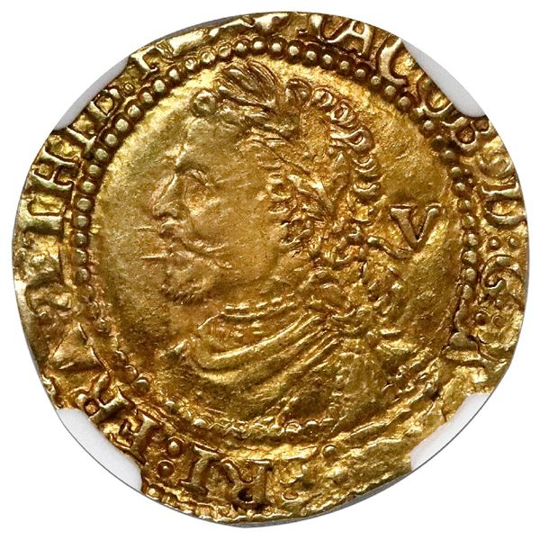 England, gold 1/4 laurel (5 shillings), James I (fourth bust), third coinage (struck 1623-4), London