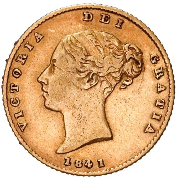 Great Britain (London, England), gold 1/2 sovereign, Victoria (young head), 1841, shield reverse.