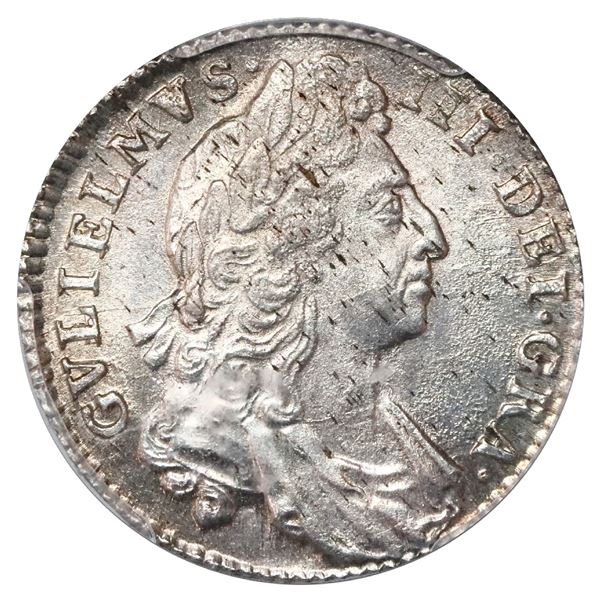 Great Britain (London, England), shilling, William III (first bust), 1697, no reverse stops, PCGS MS