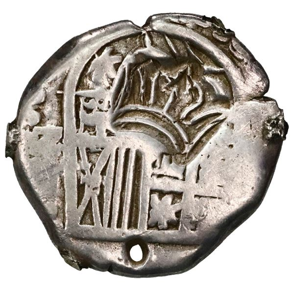 "Guatemala, 2 reales ""moclon,"" crown countermark (1662, Perez Longo Type B) on shield side of a Potos"
