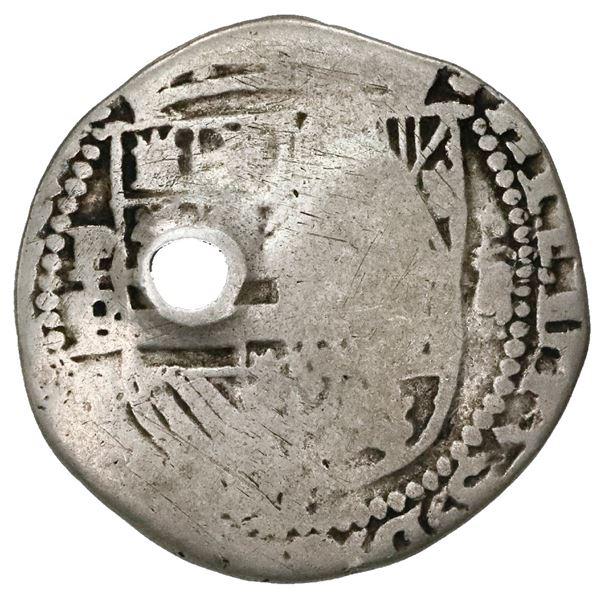 "Guatemala, 2 reales ""moclon,"" crown countermark (1662, Perez Longo Type C) on cross side of a Potosi"