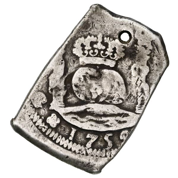 Guatemala, cob 8 reales, 1752 (J).