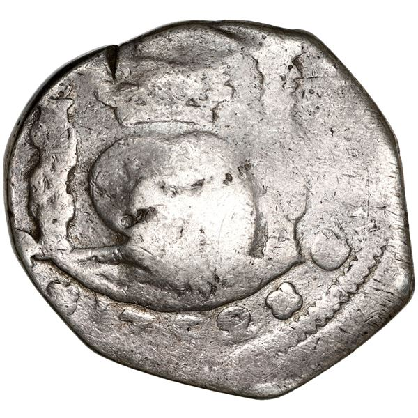 Guatemala, cob 8 reales, 1752 J, with sun-over-mountains countermark (Type II, 1839) on shield side,