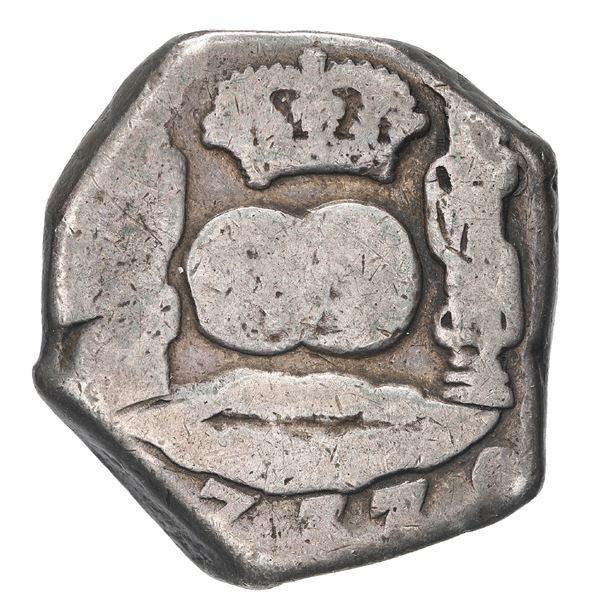 Guatemala, cob 4 reales, 1737/6 J, rare.