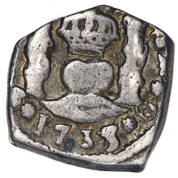 Guatemala, cob 1/2 real, 1735/4 J, rare.