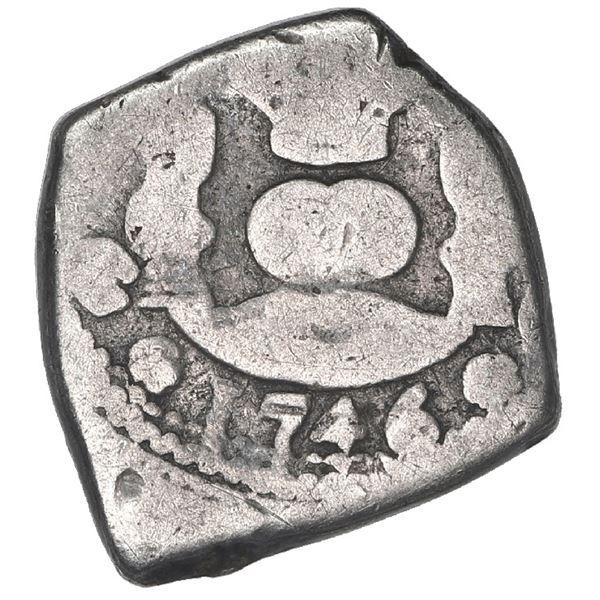 "Guatemala, cob 1/2 real, 1746 J, denomination ""1/2"", very rare, ex-Trastamara."