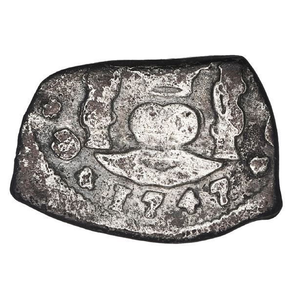 "Guatemala, cob 1/2 real, 1747 J, denomination ""+""."