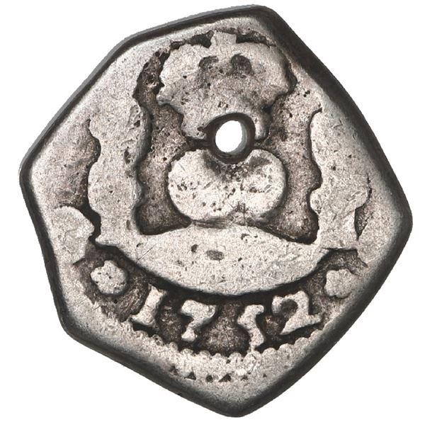 Guatemala, cob 1/2 real, 1752 J.