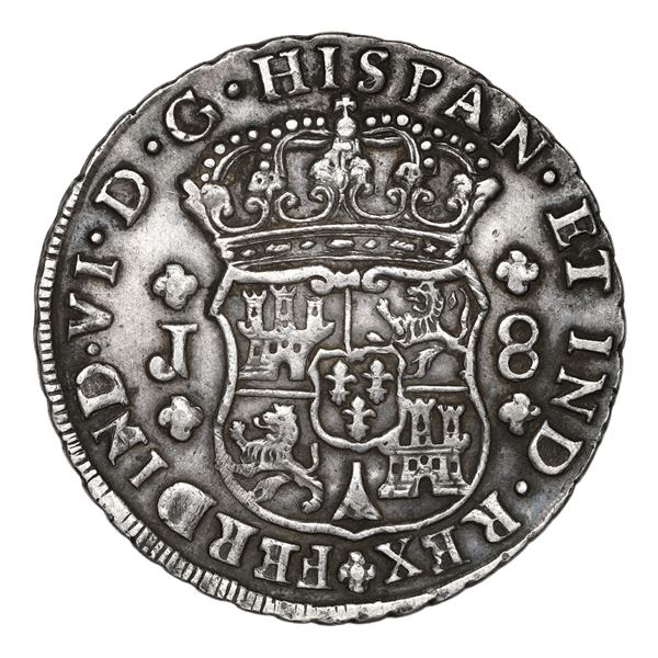 Guatemala, pillar 8 reales, Ferdinand VI, 1758 J, NGC XF 45.