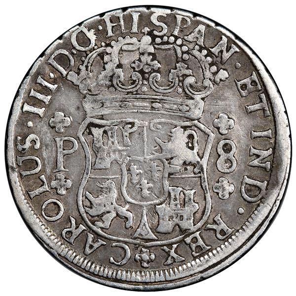 Guatemala, pillar 8 reales, Charles III, 1768 P, PCGS VF25.