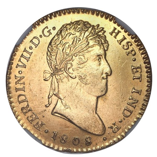 Guatemala, gold bust 2 escudos, Ferdinand VII, 1808 M, very rare, NGC MS 61, finest and only example