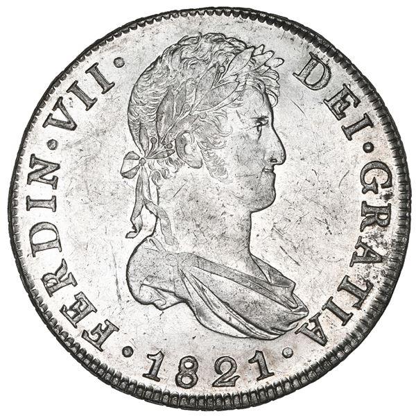Guatemala, bust 8 reales, Ferdinand VII, 1821 M, NGC AU 58.