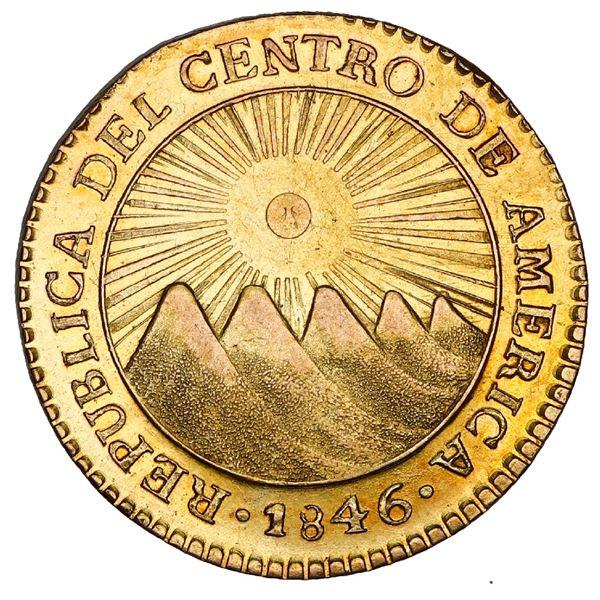 Guatemala (Central American Republic), gold 2 escudos, 1846 A, NGC AU 58.