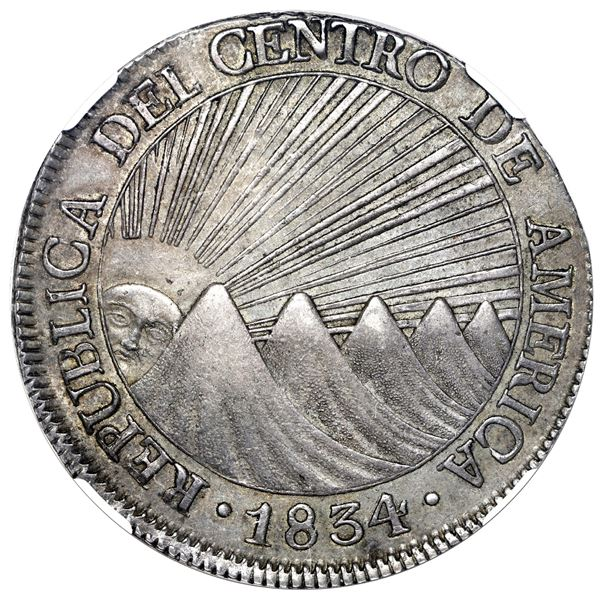 Guatemala (Central American Republic), 8 reales, 1834 M, NGC AU 58.
