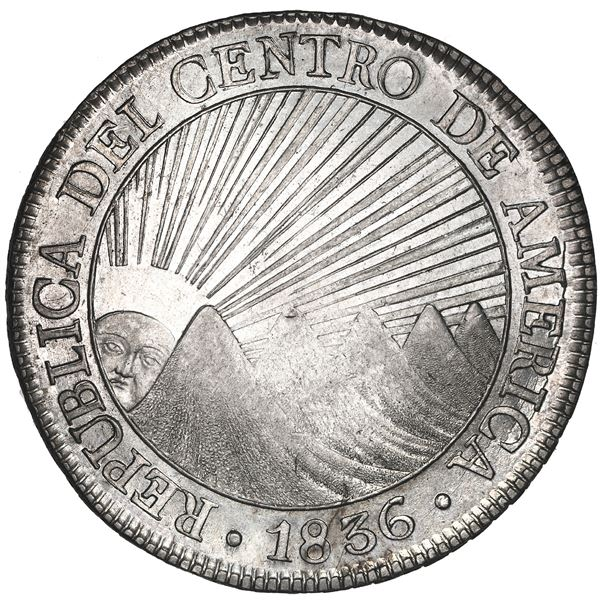 Guatemala (Central American Republic), 8 reales, 1836 M, coin rotation, NGC UNC details / reverse sp