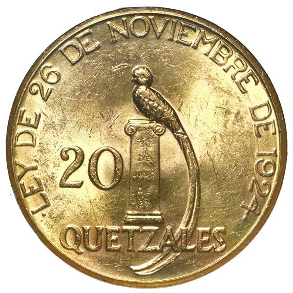 Guatemala (struck at the Philadelphia mint), gold 20 quetzales, 1926, NGC MS 62.
