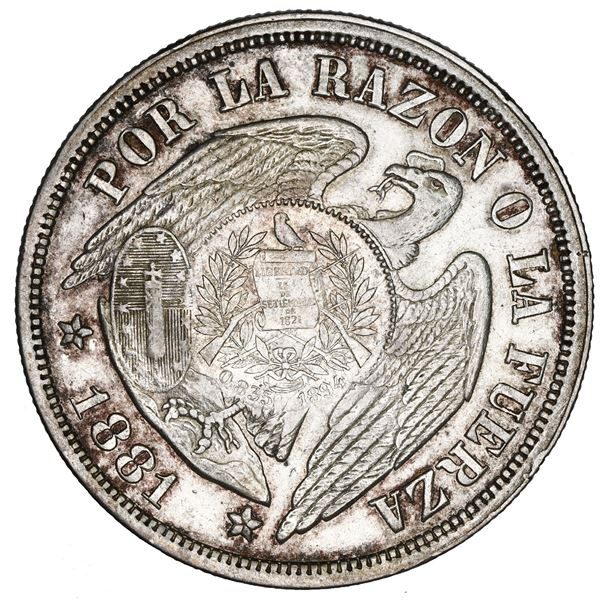 """Guatemala, 1 peso, """"1/2 real"""" counterstamp of 1894 on a Santiago, Chile, 1 peso, 1881, NGC AU 53, c/"""