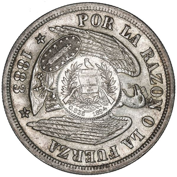 """Guatemala, 1 peso, """"1/2 real"""" counterstamp of 1894 on a Santiago, Chile, 1 peso, 1883, NGC AU 58, c/"""