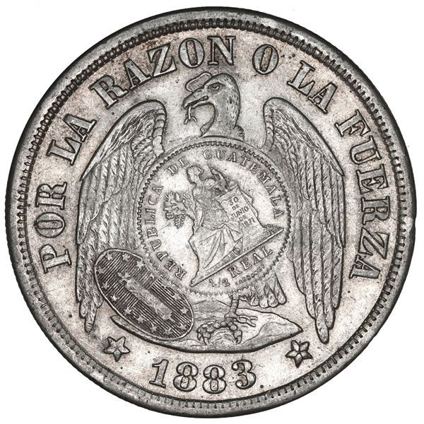 """Guatemala, 1 peso, """"1/2 real"""" counterstamp of 1894 on a Santiago, Chile, 1 peso, 1883, NGC AU 55, c/"""