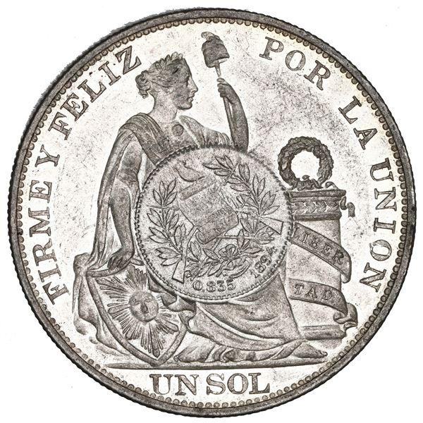 "Guatemala, 1 peso, ""1/2 real"" counterstamp of 1894 on a Lima, Peru, 1 sol, 1893 TF, NGC MS 61, c/s U"