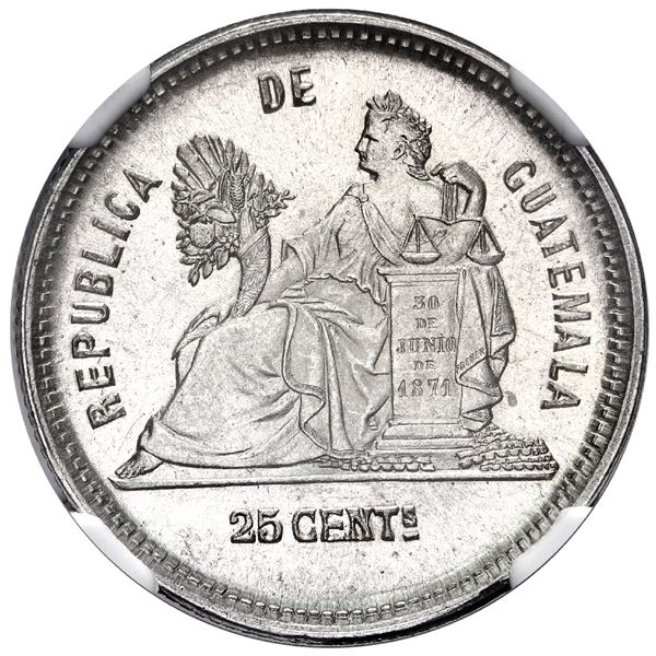 Guatemala, 25 centavos, 1889, with star, NGC MS 64, finest known in NGC census.