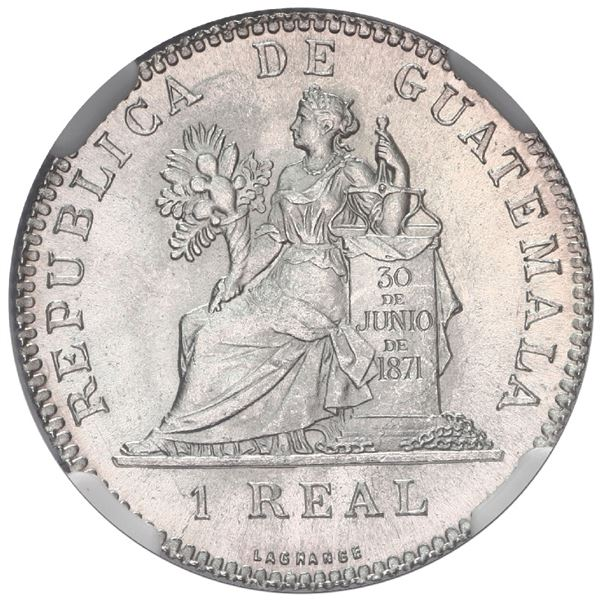 Guatemala, 1 real, 1897, NGC MS 65, finest known in NGC census.