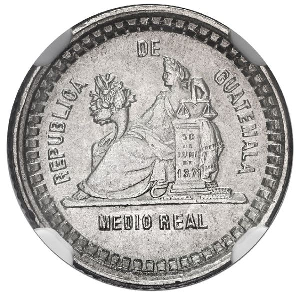 Guatemala, 1/2 real, 1889, NGC MS 62, finest and only example in NGC census.