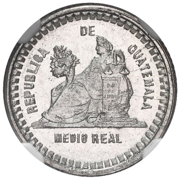 Guatemala, 1/2 real, 1893, large wreath and large date, NGC MS 67, finest known in NGC census.