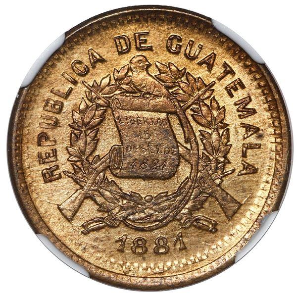 Guatemala, copper 1 centavo, 1881, struck on an 1871 1 centavo, NGC Mint Error MS 65 RB, KM Plate (s