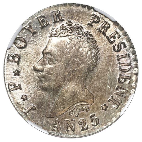 Haiti, 50 centimes, AN 25 (1828), Boyer, NGC MS 62, ex-Rudman.