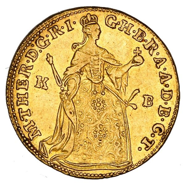 Hungary, gold ducat, Maria Teresa, 1762-KB, Kremnitz mint, NGC AU 55.