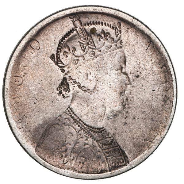 India (British), 1 rupee, Victoria (as Queen), no date (1862-76), NGC Mint Error VF 25, reverse broc