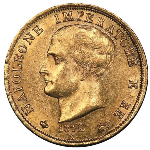 "Milan, Italy (Kingdom), gold 40 lire, Napoleone I, 1812-M, ""puntali sagomati"" variety (halberds with"