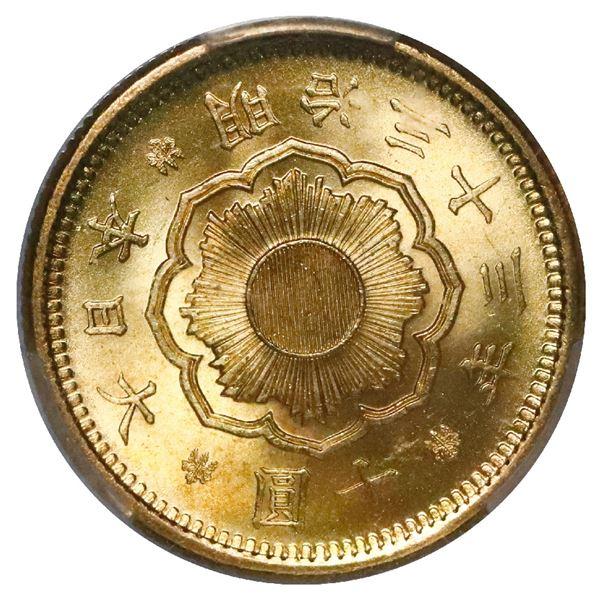 Japan (Osaka mint), gold 10 yen, Emperor Mutsuhito, Meiji year 33 (1900), PCGS MS65+.