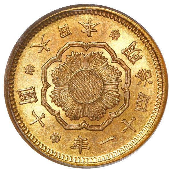 Japan (Osaka mint), gold 10 yen, Emperor Mutsuhito, Meiji year 41 (1908), PCGS MS63.