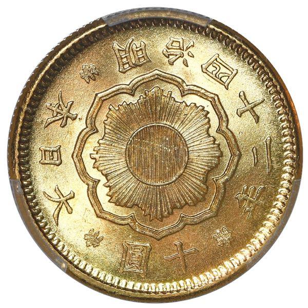 Japan (Osaka mint), gold 10 yen, emperor Mutsuhito, Meiji year 42 (1909), PCGS MS65+.