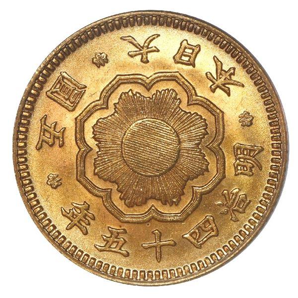 Japan (Osaka mint), gold 5 yen, Emperor Mutsuhito, Meiji year 45 (1912), PCGS MS64.
